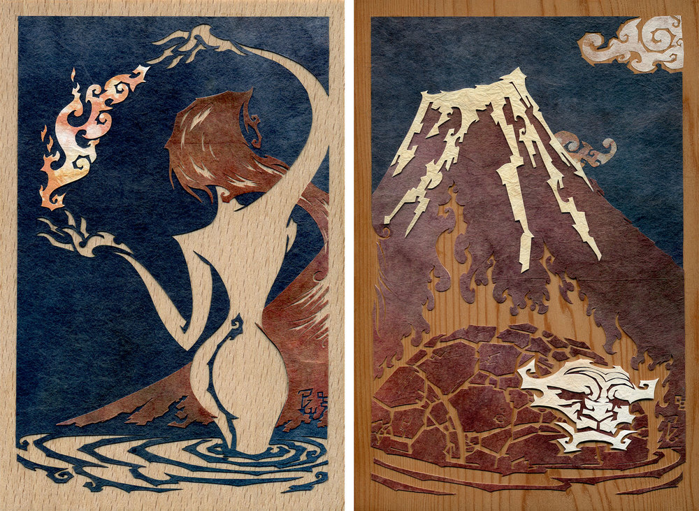 ⊛  Fuji Flame Diptych (She Who Brings the Fire • He of the Flame)   ⊛  cut paper + washi / wood   ⊛  8 x 6 in • 150 x 200 mm    ⊛  private collection