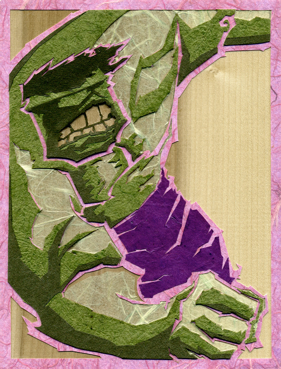 ⊛   Hulk    ⊛  cut paper + washi / wood   ⊛  8 x 6 in • 203 x 152 mm   ⊛  private collection