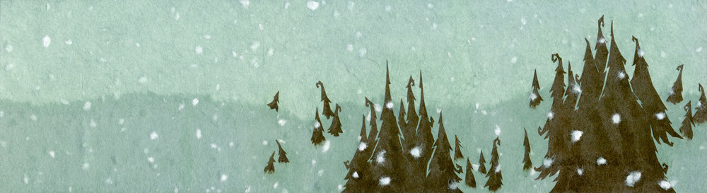 ⊛  Snowy Landscape ⊛  cut + torn paper / illustration board ⊛  4.25 x 15.4 in • 108 x 392 mm   ⊛  incorporeal