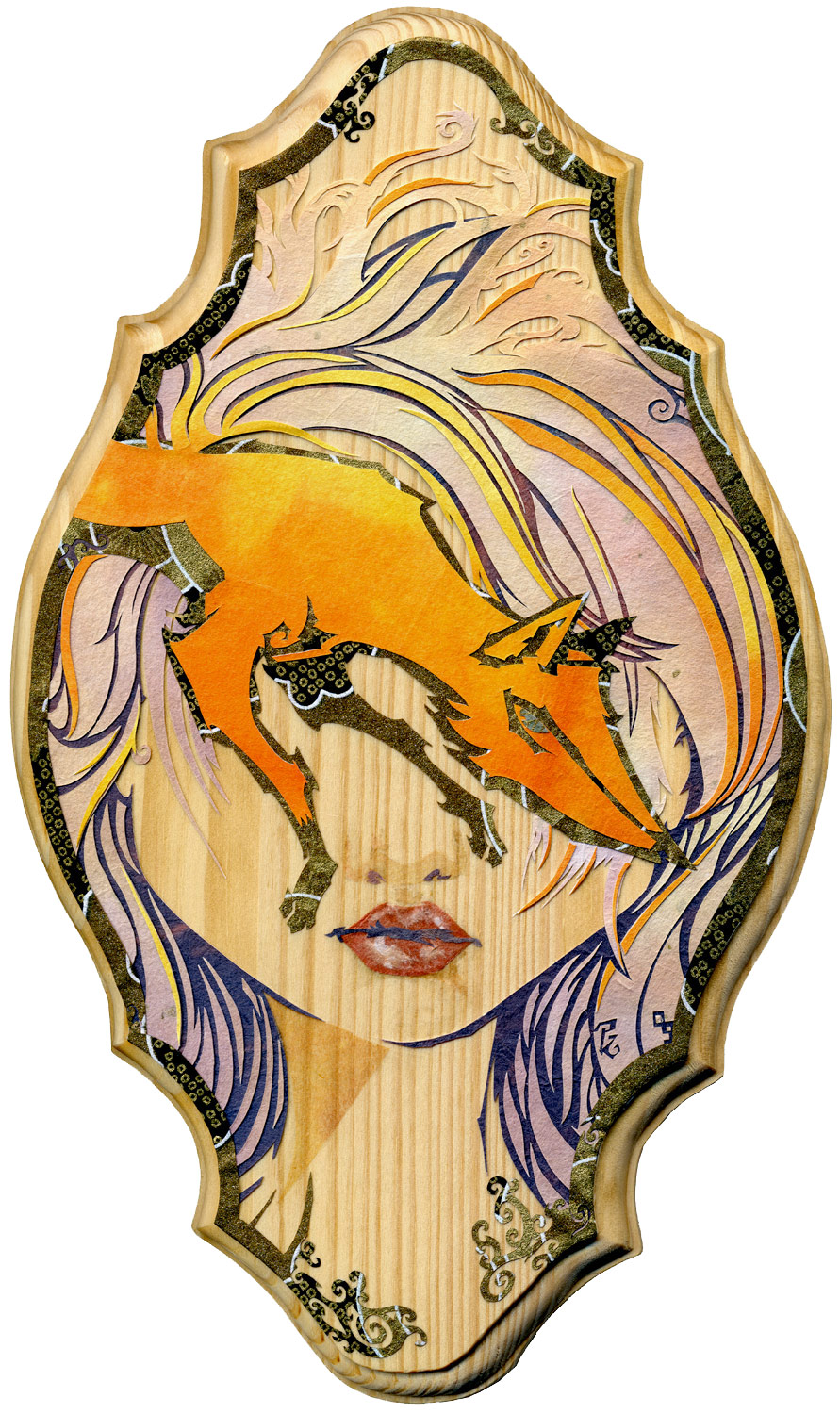 Vixen (Inari) size: 17.2 x 29 cm ( about 6 3/4 x 11 1/2″ ) medium: cut and torn paper on wood private collection