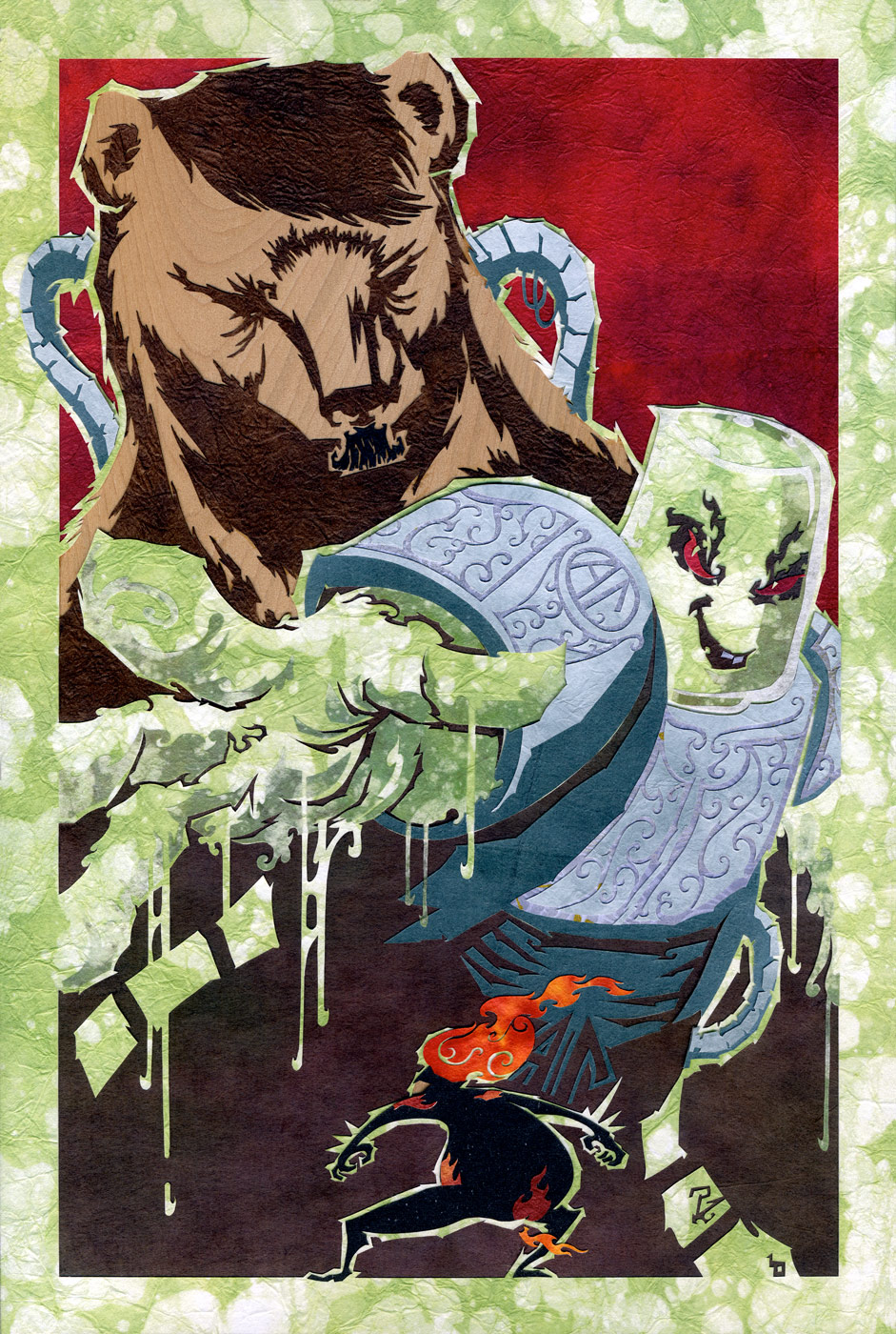⊛   In the Corrosive Grip of Acid Reflux.  And a Bear.    ⊛  cut paper + washi + cjiyogami / wood ⊛  11.9 x 7.88 in (30 x 20cm)