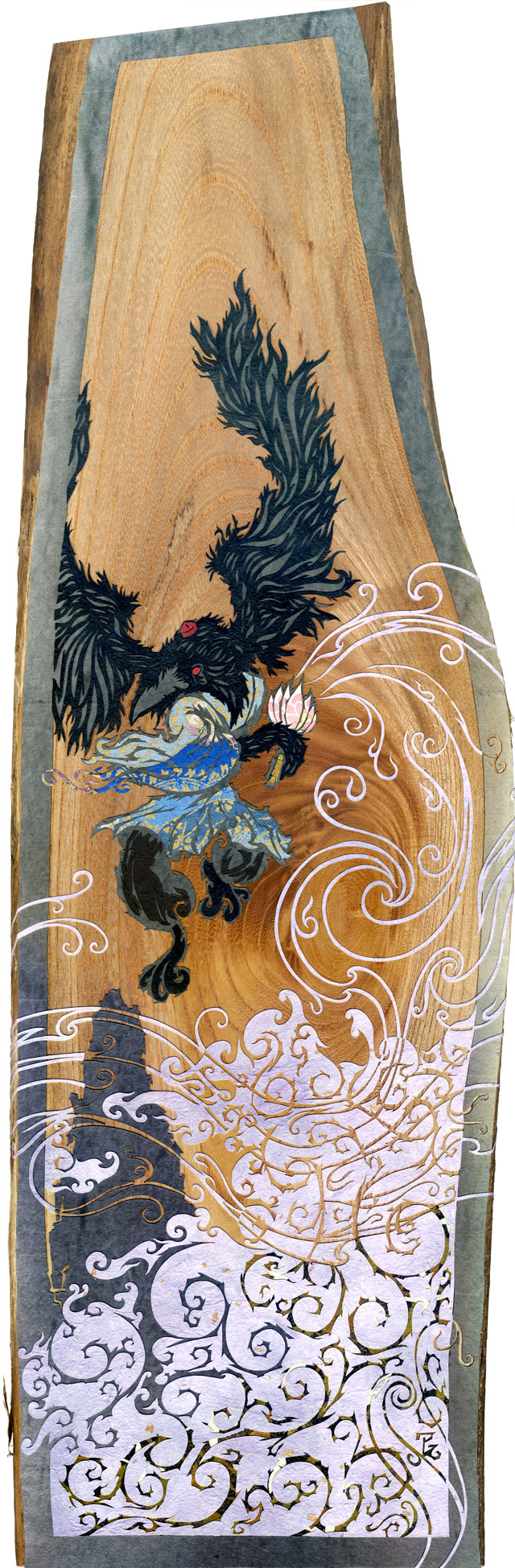 Upon Black Wings, A Howling Wind size: 6.5 x 19.7 in • 165 x 500 mm medium: cut washi + chiyogami paper / wood