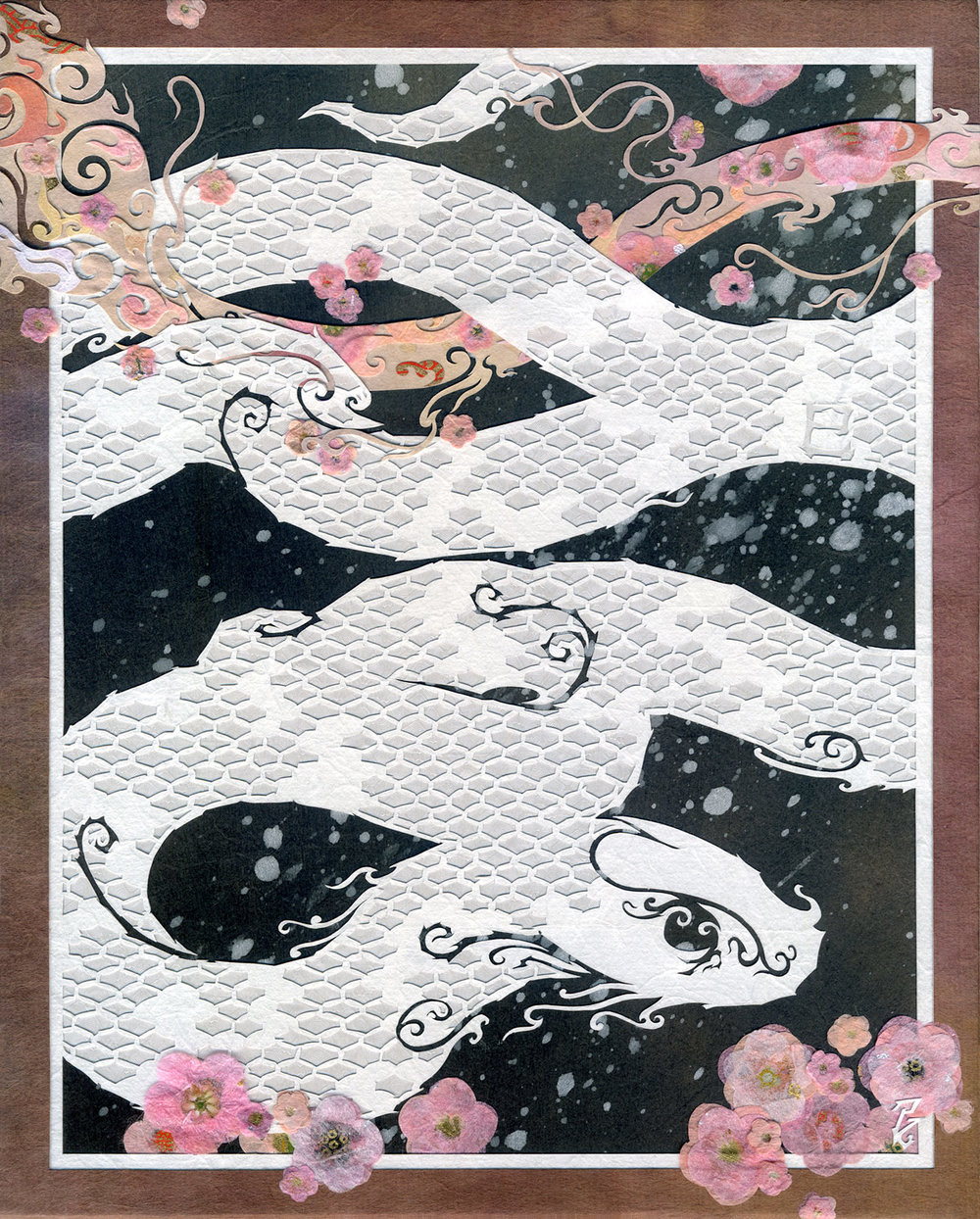 ⊛   Among the Petals, a White Serpent  ⊛  10 x 8 in • 254 x 203 mm ⊛  cut + torn washi + chiyogami paper / wood panel