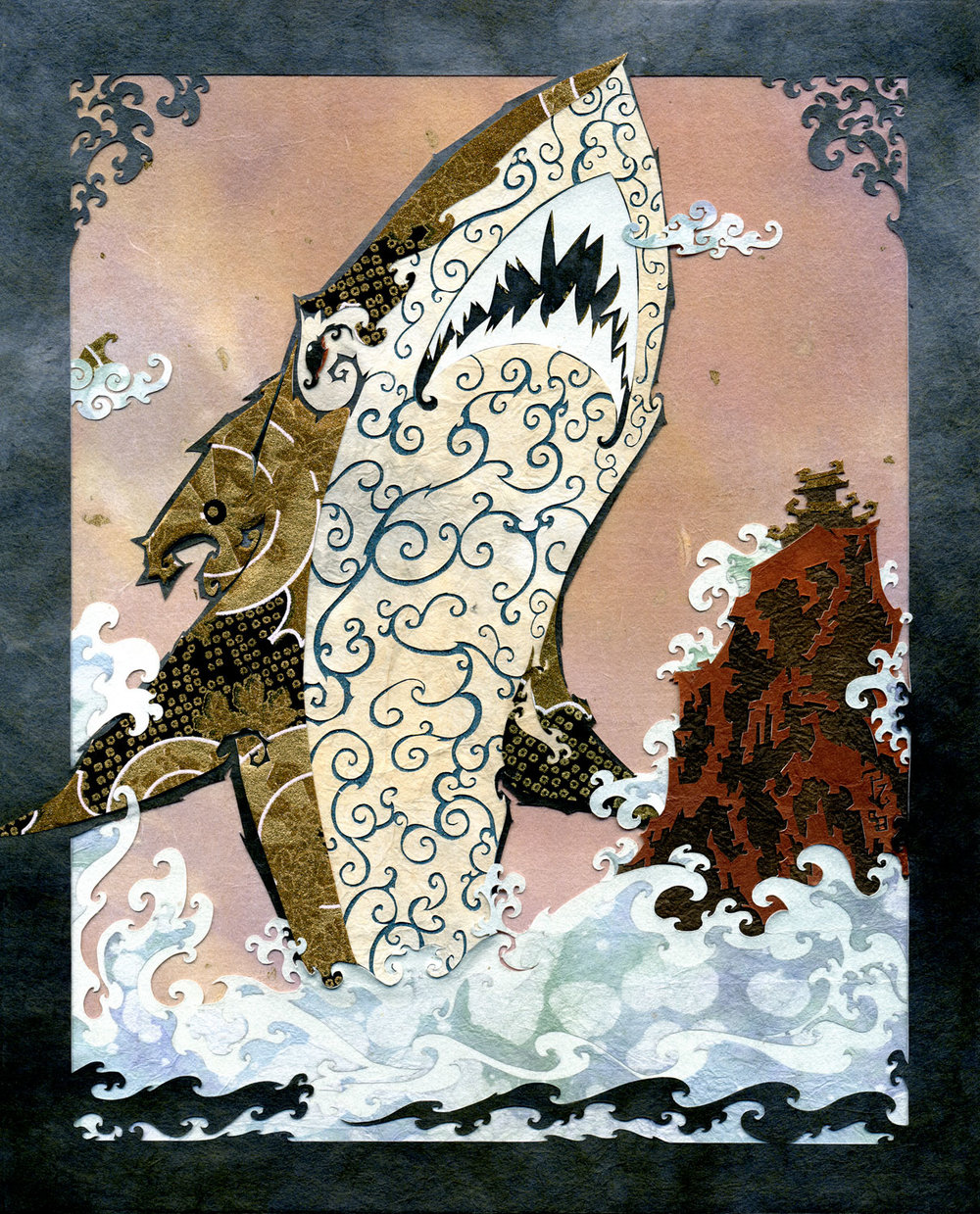 ⊛  The Golden Sea, It Has Teeth   ⊛  10 x 8 in • 254 x 203 mm   ⊛  cut paper + washi + chiyogami / wood   ⊛  private collection