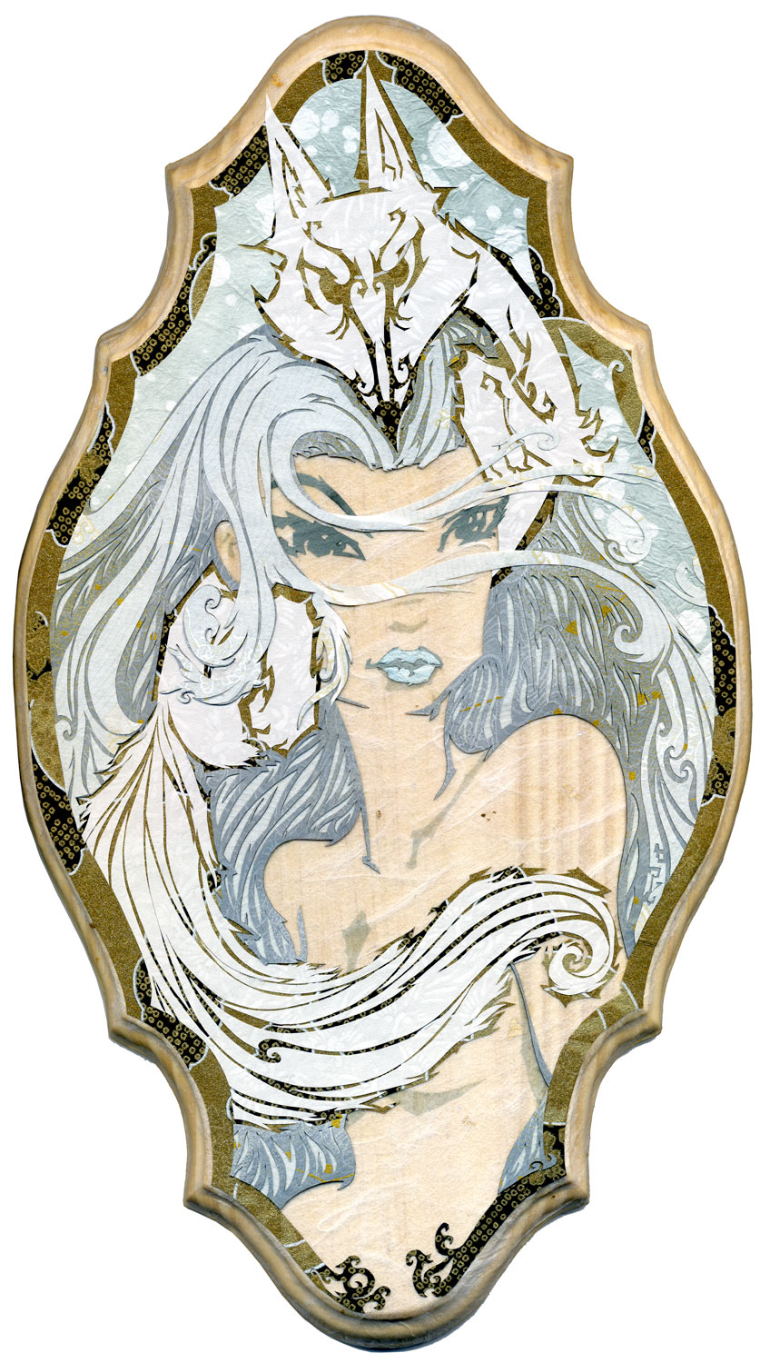 ⊛Cold as the Winter Wind, Sharp as a Fox (Yuki-Onna) ⊛size: 15 x 8.5 in • 381 x 216 mm ⊛medium: cut paper / wood  ⊛private collection