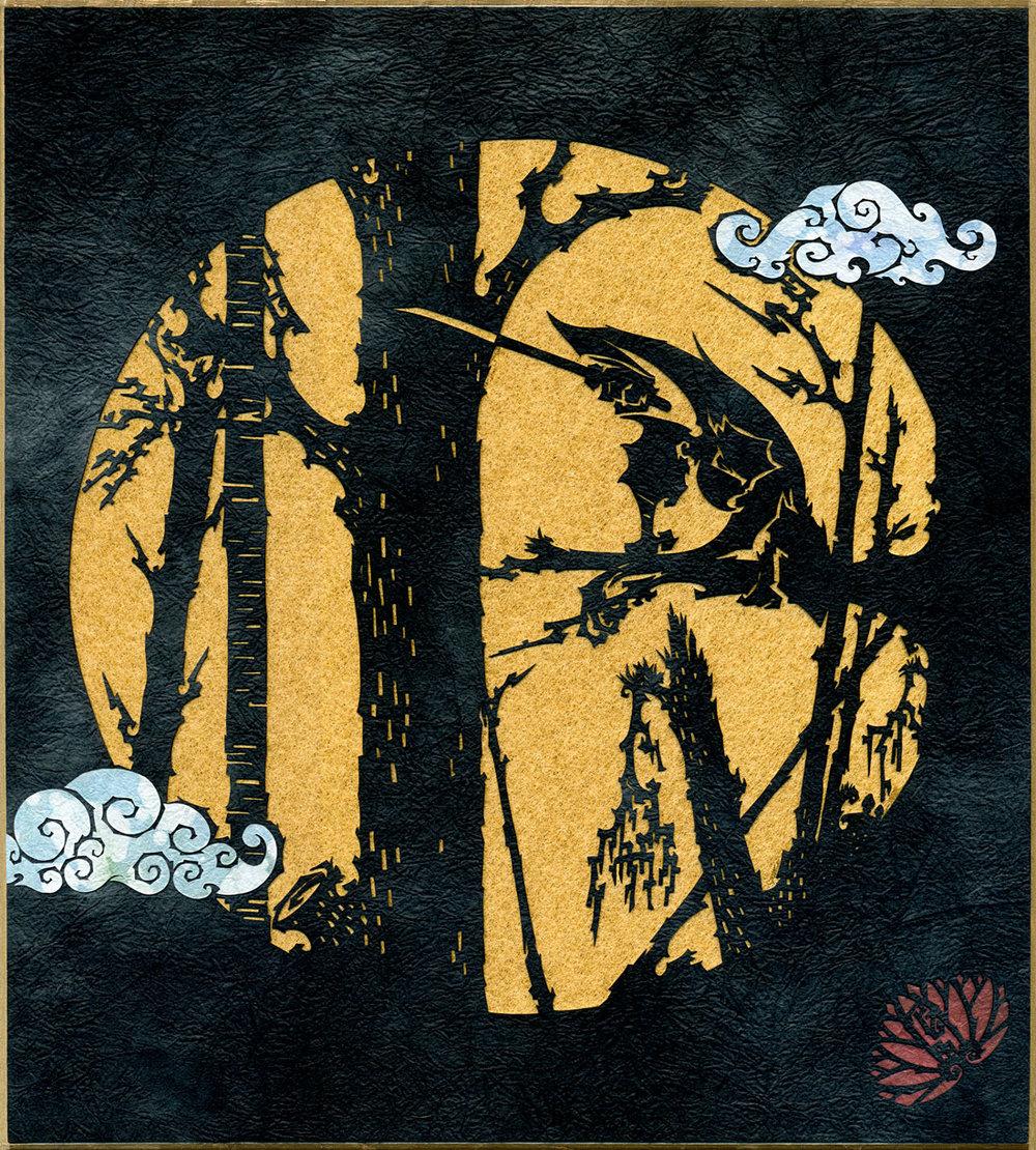 ⊛ A Black Moon Rises  ⊛ cut paper / shikishi (calligraphy board)  ⊛ 10.75 x 9.6 in • 273 x 244 mm / framed: 15.5 x 13 in • 394 x 330 mm