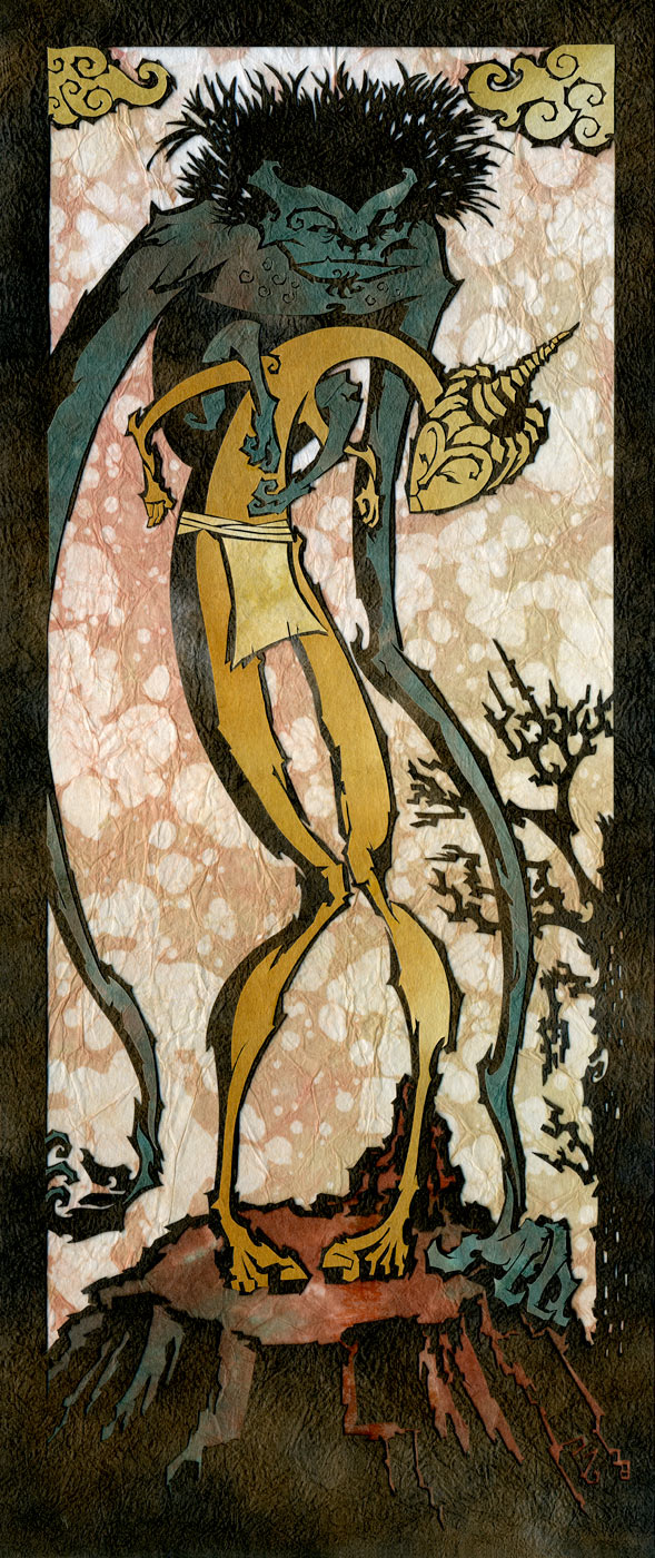 ⊛  With Arms to Guide His Golden Mount   ⊛ cut paper / wood ⊛ 14 x 6 in • 356 x 152 mm ⊛ private collection
