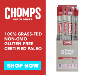 Chomps Snack Sticks 100% Grass-Fed, Non-GMO, Gluten-Free, Certified Paleo, Whole30 Approved