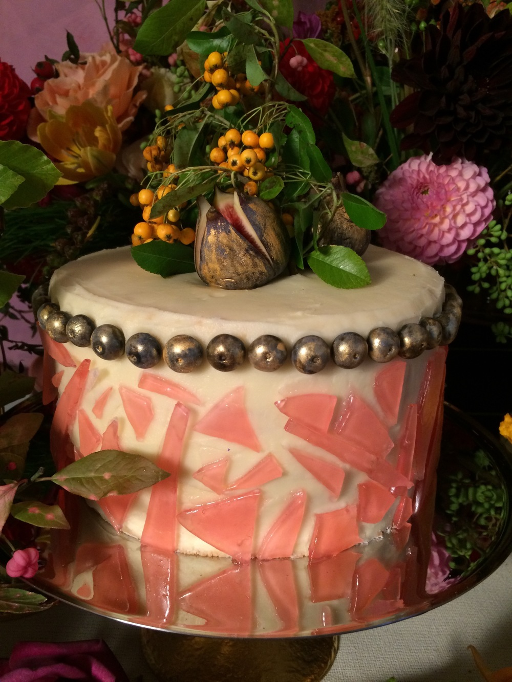 Almond Sponge & Vanilla Buttercream with Gold Blueberries with Pink Sugar Glass & Gold Figs