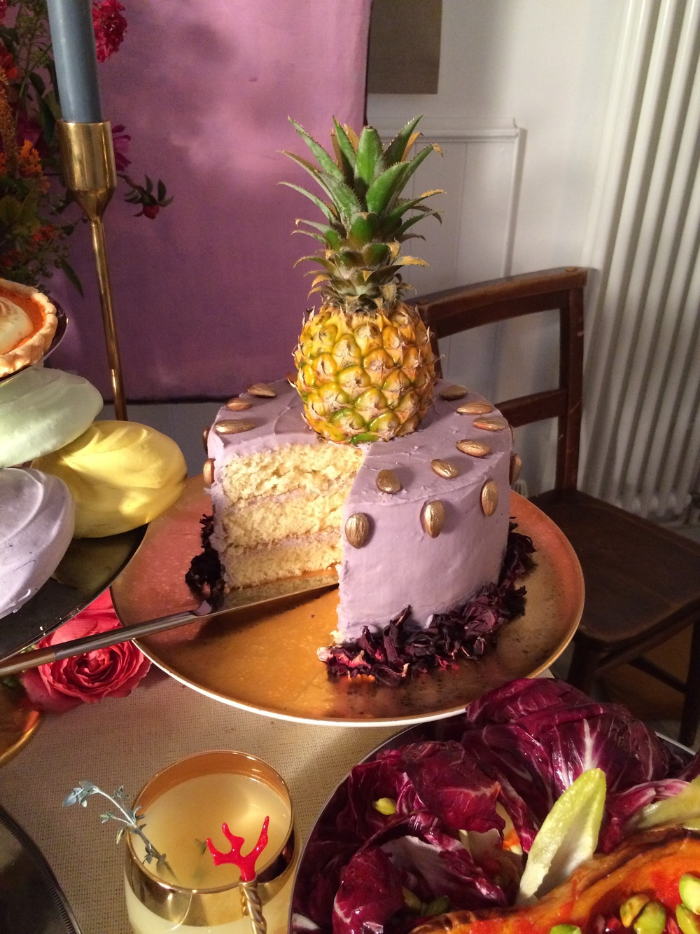Almond Sponge with Vanilla Purple Icing, Hibiscus, Gold Almonds & Gold Dusted Pineapple