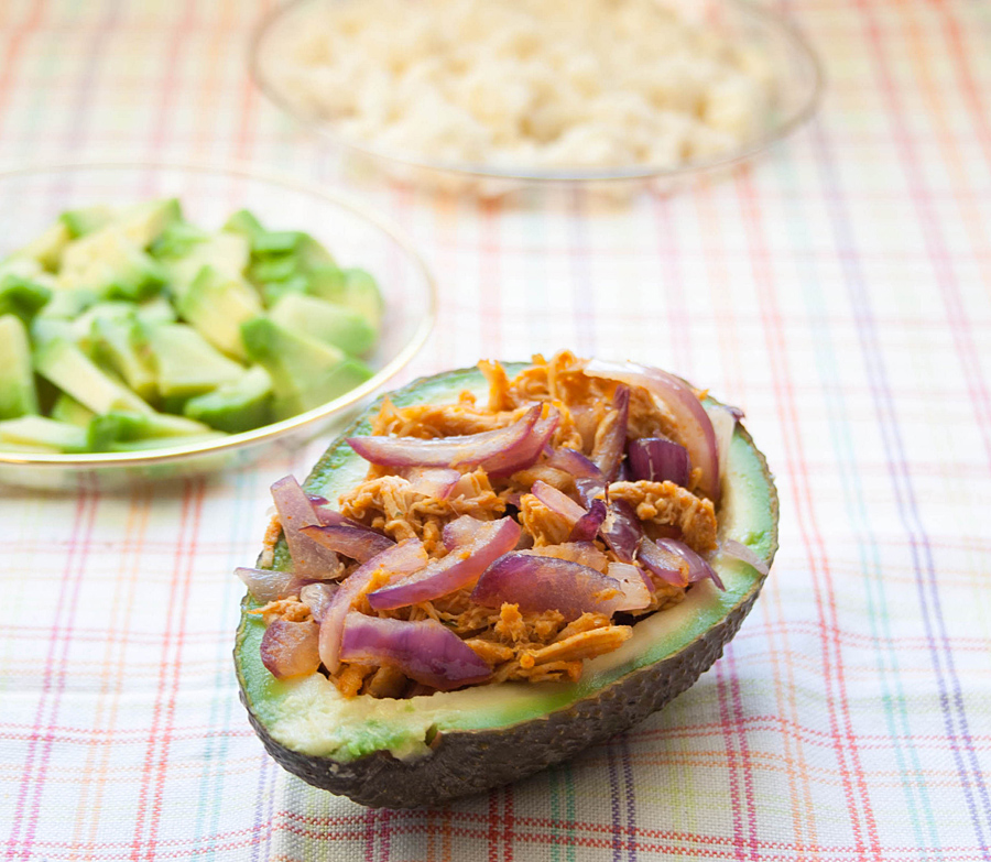 Carnitas on avocado shells | Lau Sunday cooks