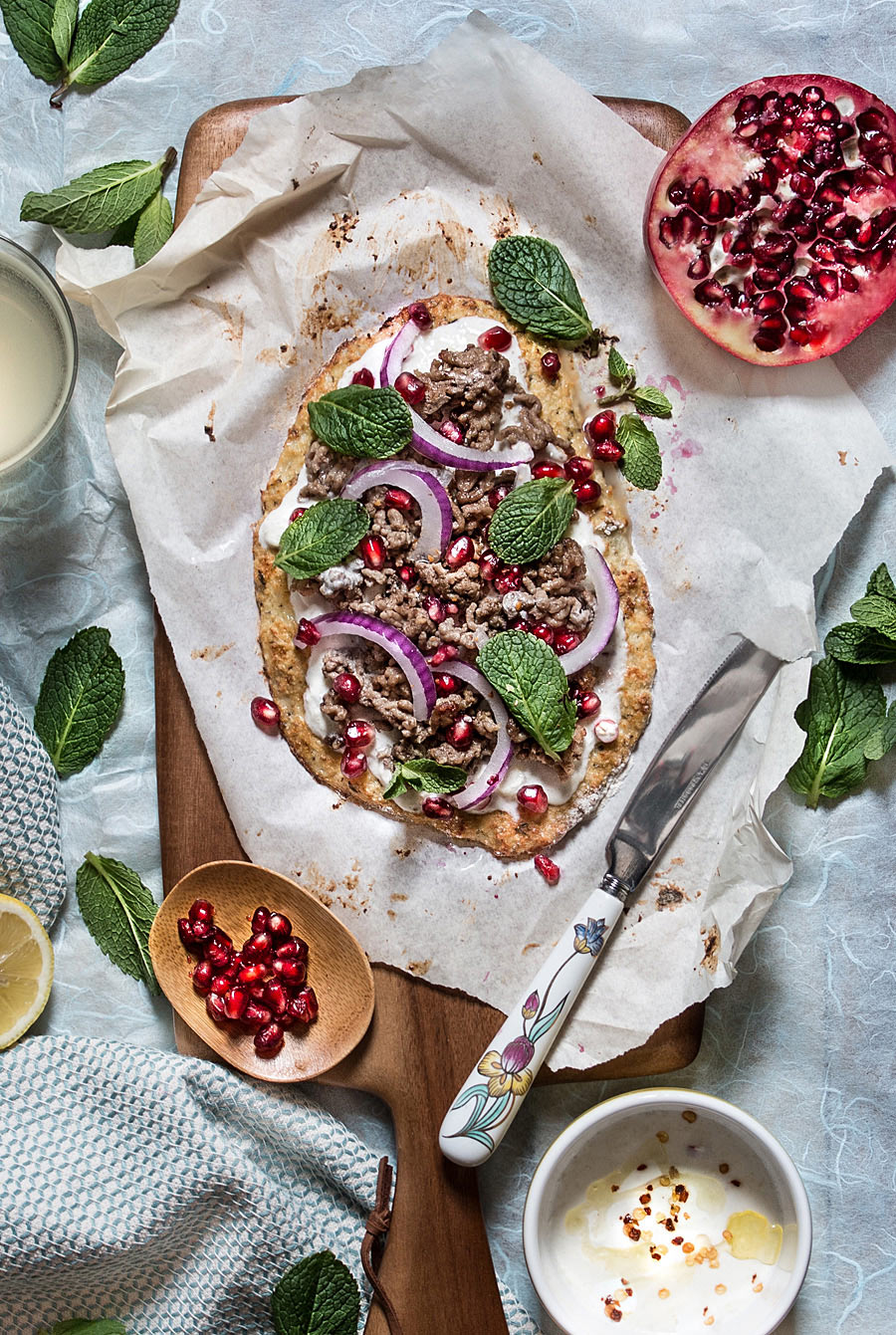 Indian cauliflower crust pizza with cucumber-chilli yogurt | Lau Sunday cooks