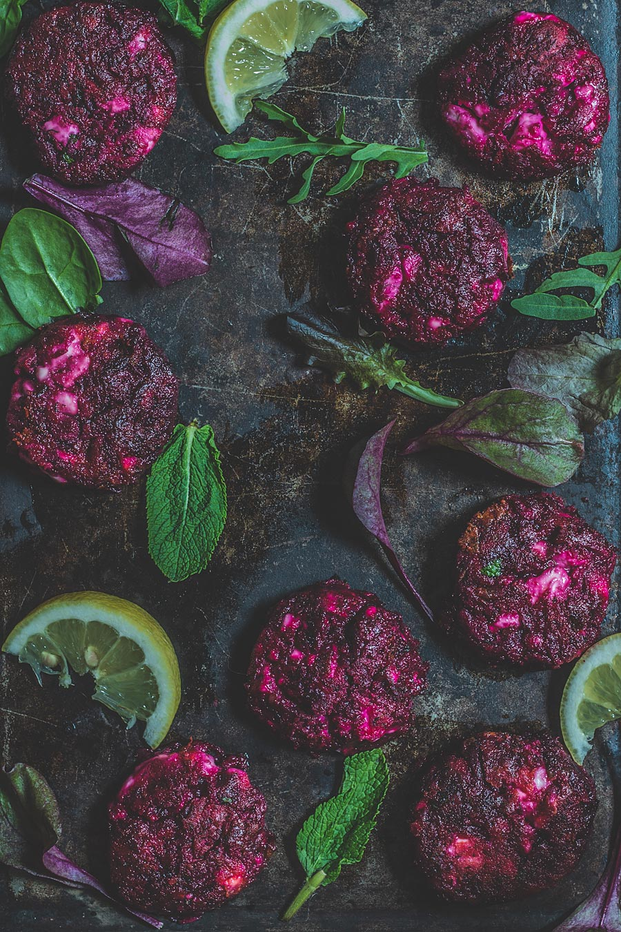 Beetroot & feta cheese patties on mushrooms buns | Lau Sunday cooks