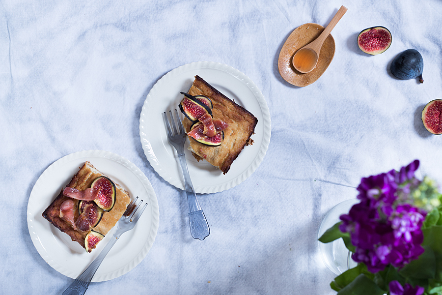 Cauliflower cake with maple-glazed bacon and figs | Lau Sunday cooks