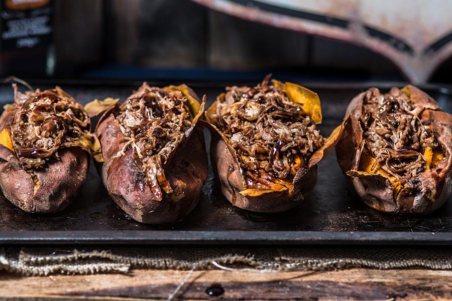Pulled pork stuffed Jacket sweet potatoes | Lau Sunday cooks