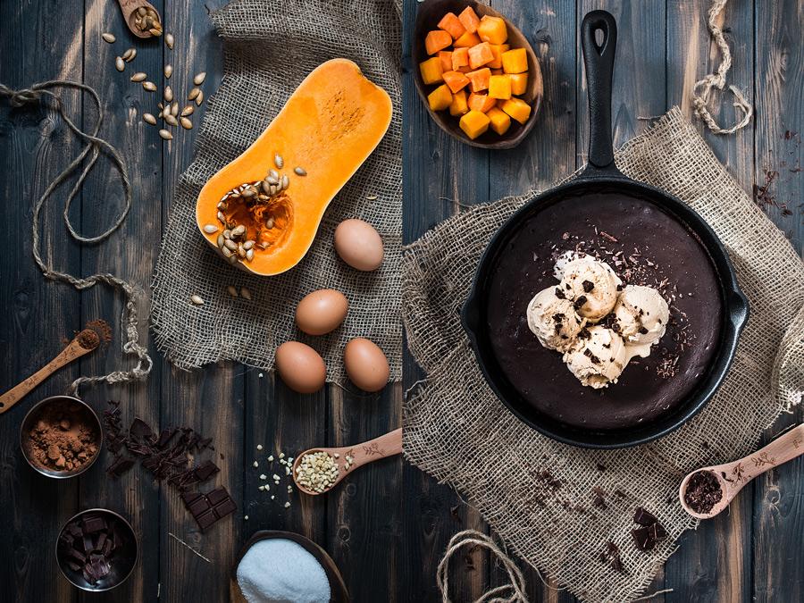 Butternut squash brownie sundae by Laura Domingo