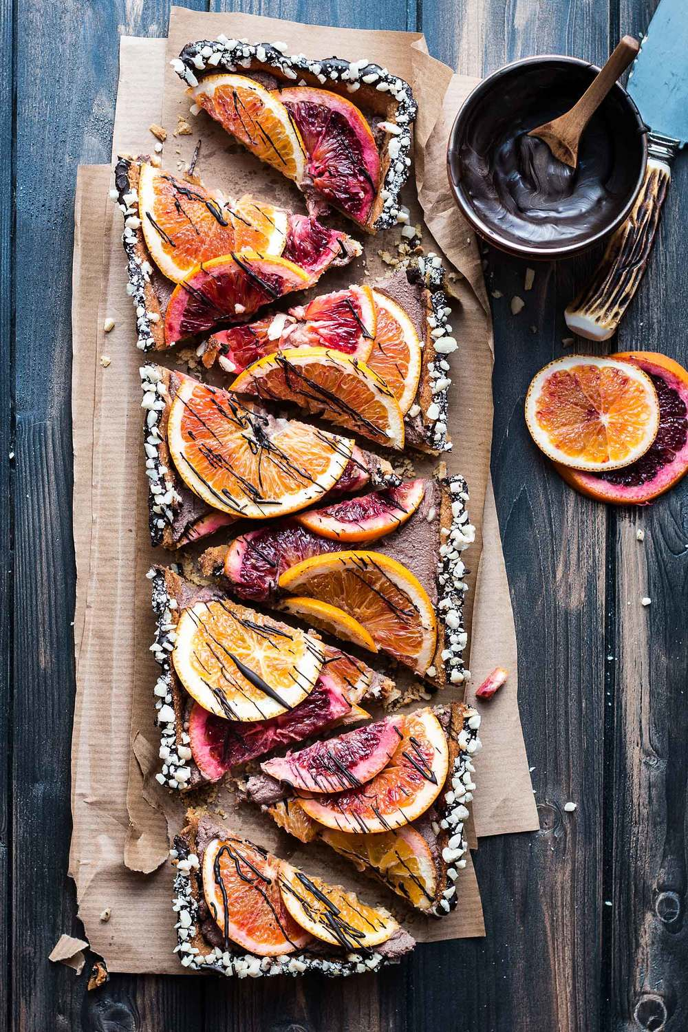 Chocolate ricotta tart with blood oranges by Laura Domingo