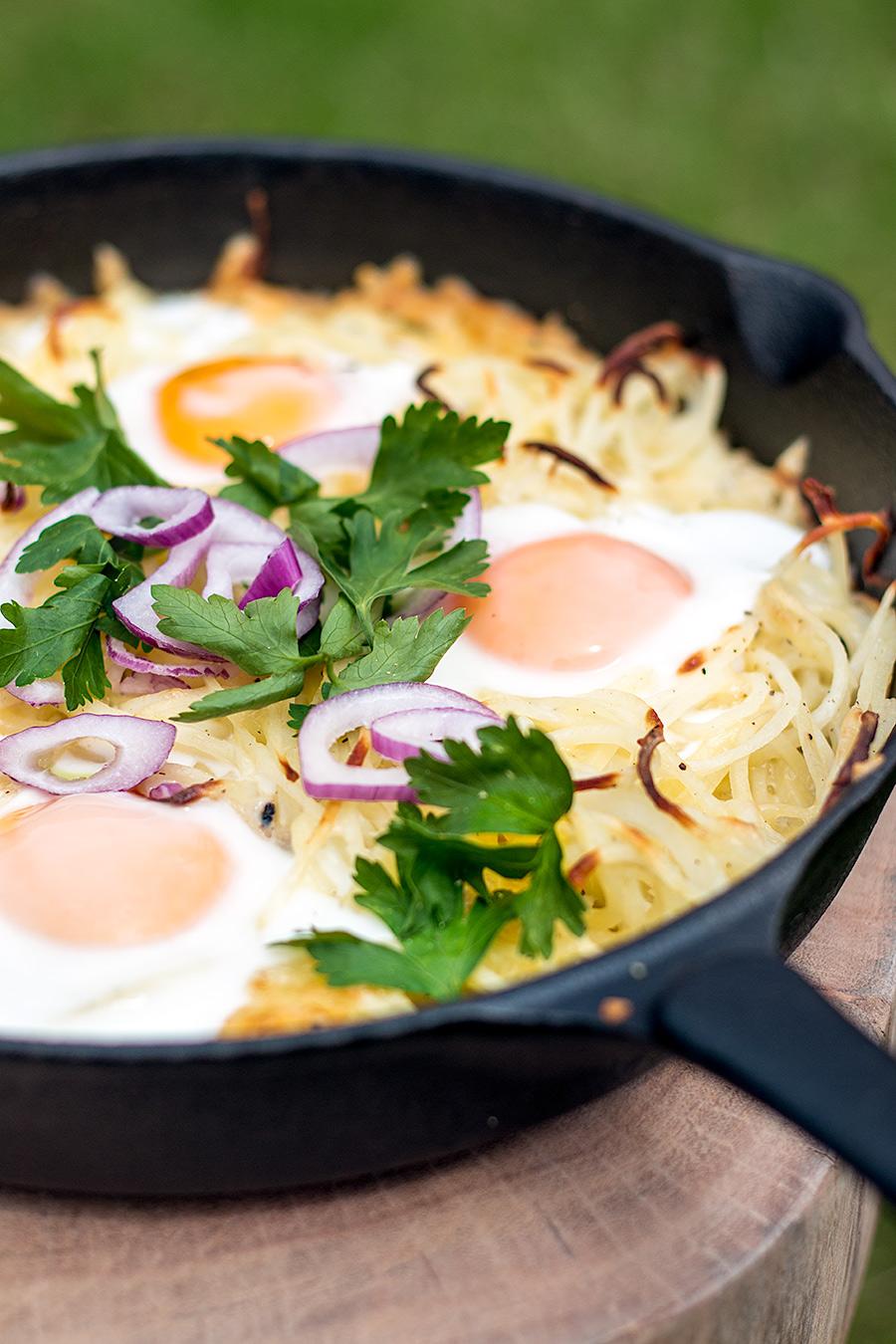 Posh potato and eggs hash | Lau Sunday cooks