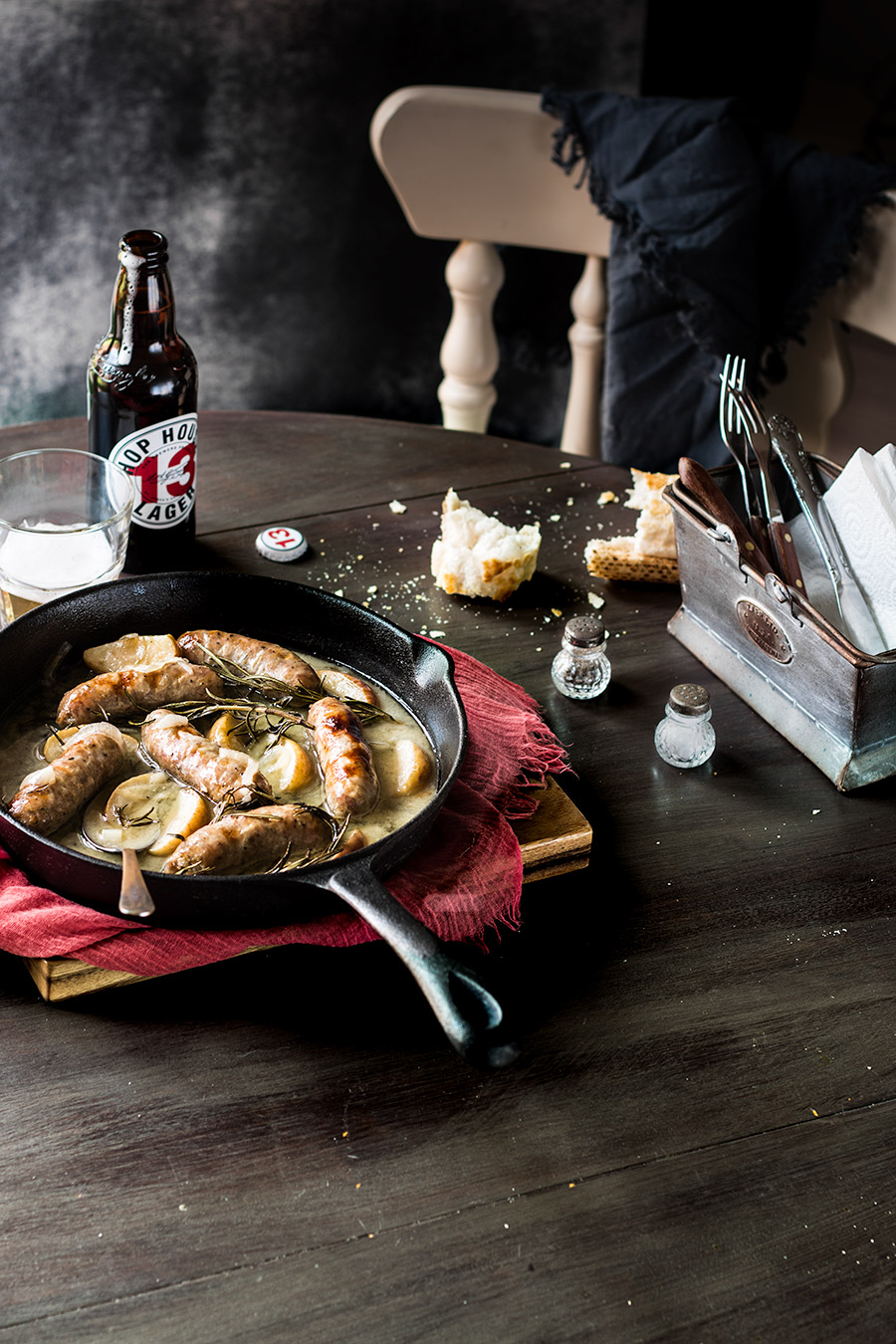 Sausage braised in cider and apple by Laura Domingo