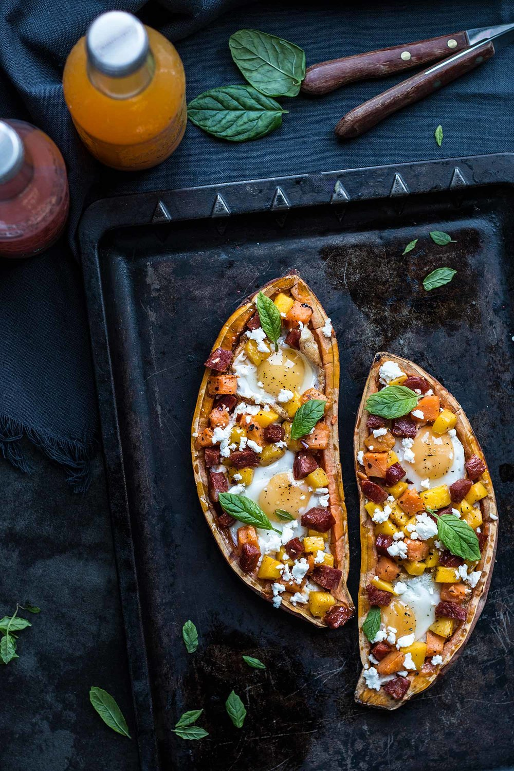 Mango, chorizo & egg sweet potatoes boats