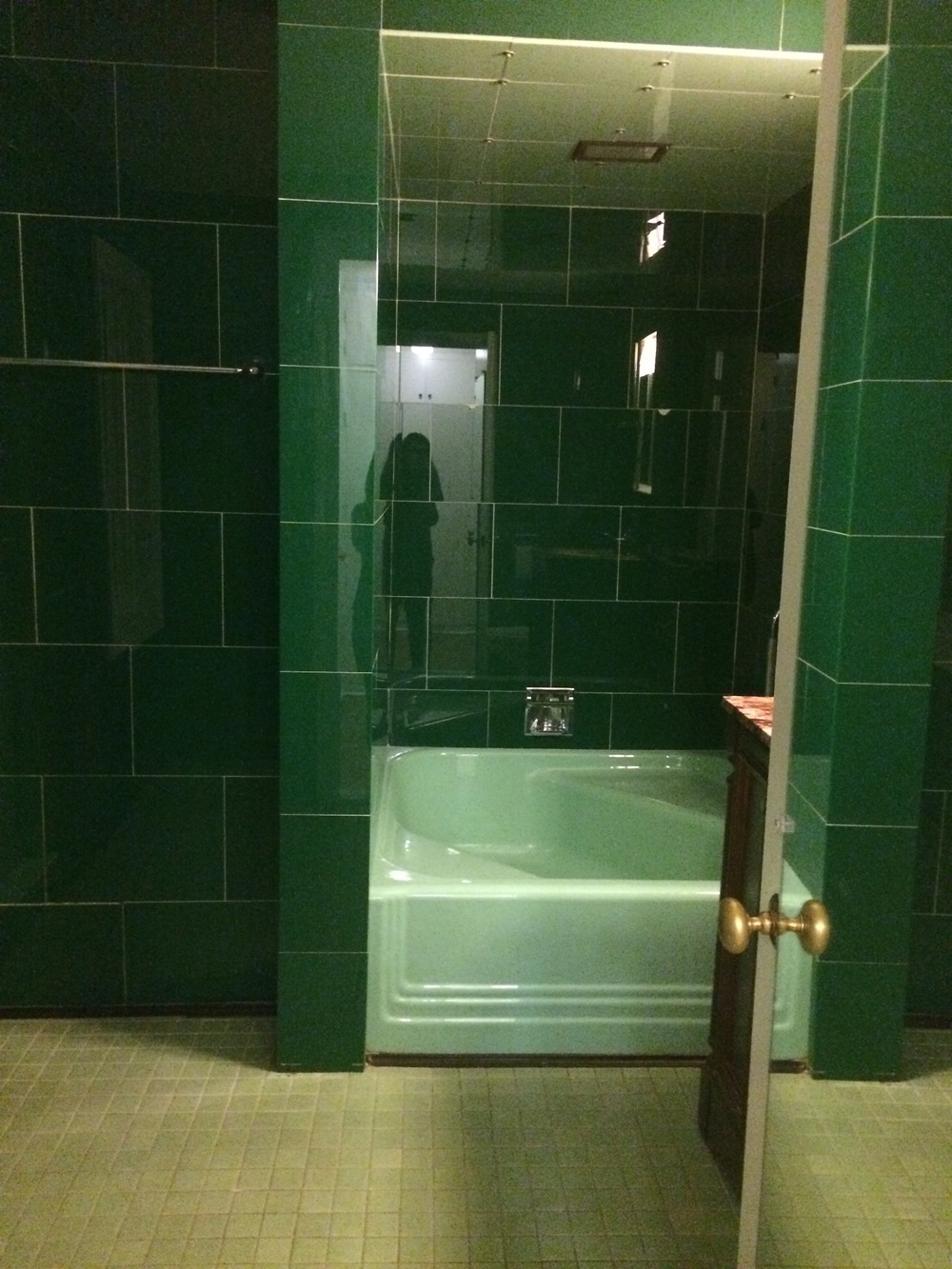 The unusually square tub and worn floor tile. Not minty fresh.