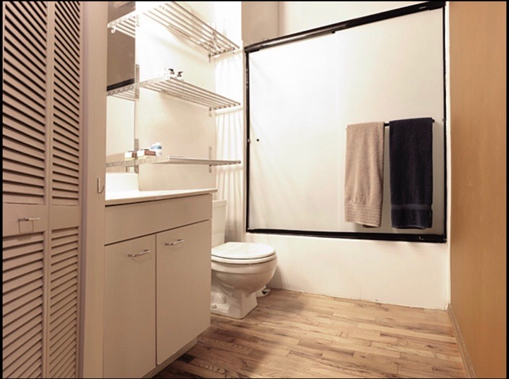 The outdated bathroom was upgraded first.