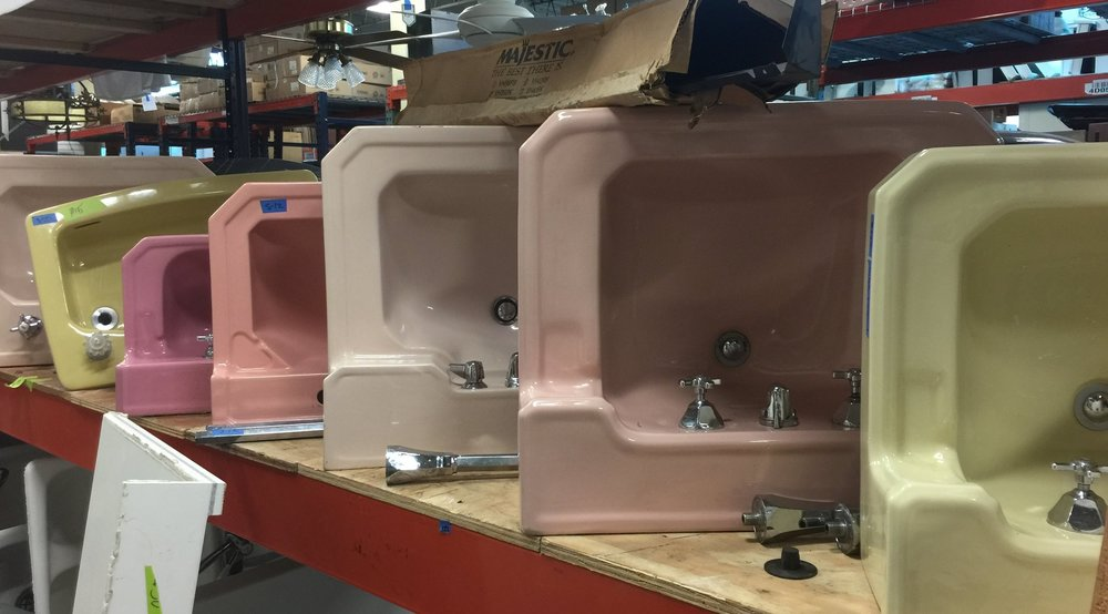Sink Series, artist unknown.Have I been working too hard or is there richly colored beauty in this gallery-like display of old porcelain sinks?