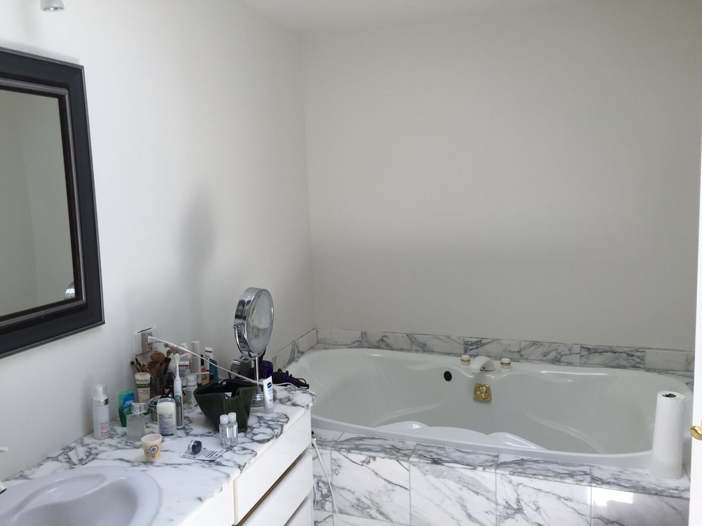 "The obligatory white jacuzzi and 82"" vanity with only a single bowl and faucet and limited storage. The number of functioning jacuzzi-style tubs we've seen can be counted on one hand."