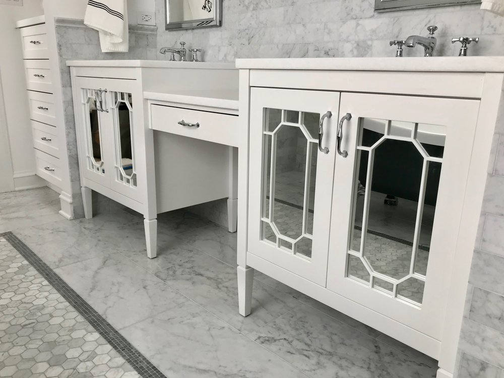 Another view of the vanity wall with desk bridge. We added an extra 3 feet of length for built-in cabinetry and enhanced storage.