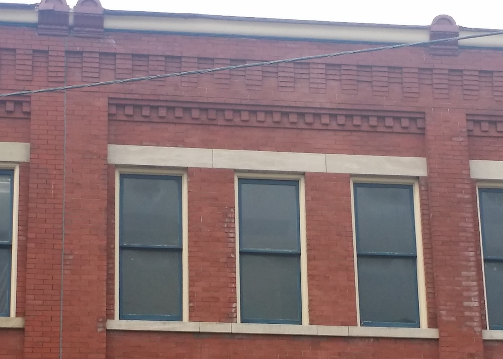 Speaking of contrast, these smooth-faced limestone lintels really pop against the red brick of the Smart Centre Market Building, Centre Market, Wheeling WV