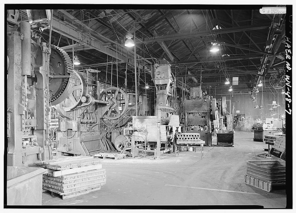 An interior view of the factory while the location was being documented by the Historic American Engineering Record team.  Photograph courtesy of the Library of Congress.