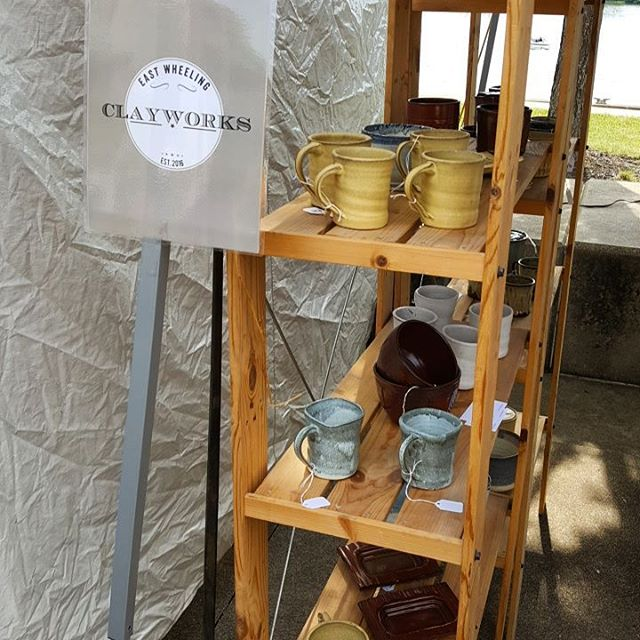 #wyp member @adambedway is selling his great pottery at the Arts Fest! Stop down and talk old building and things made out of mud with him! #eastwheelingclayworks #wheelove #wheelingfeeling #gotowv #wheeling_shooters #wyp