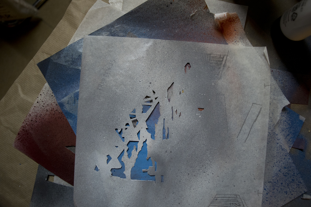 Kyle Bryant Tree Trap Genius sky stencil