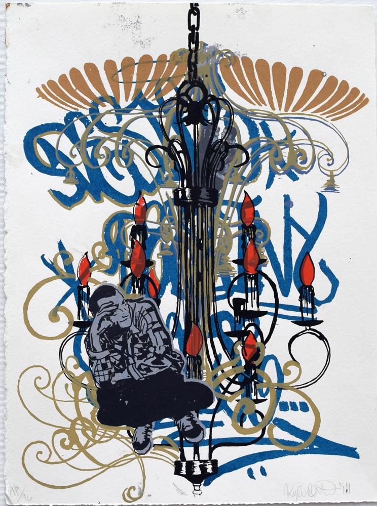 """Chandelier 2 Silkscreen Print, 2011  11"""" x 15"""""""