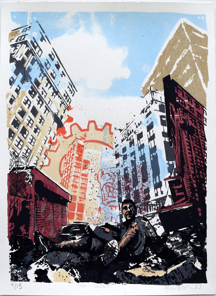 "No Sleep Silkscreen Print, 2012 11"" x 15"""