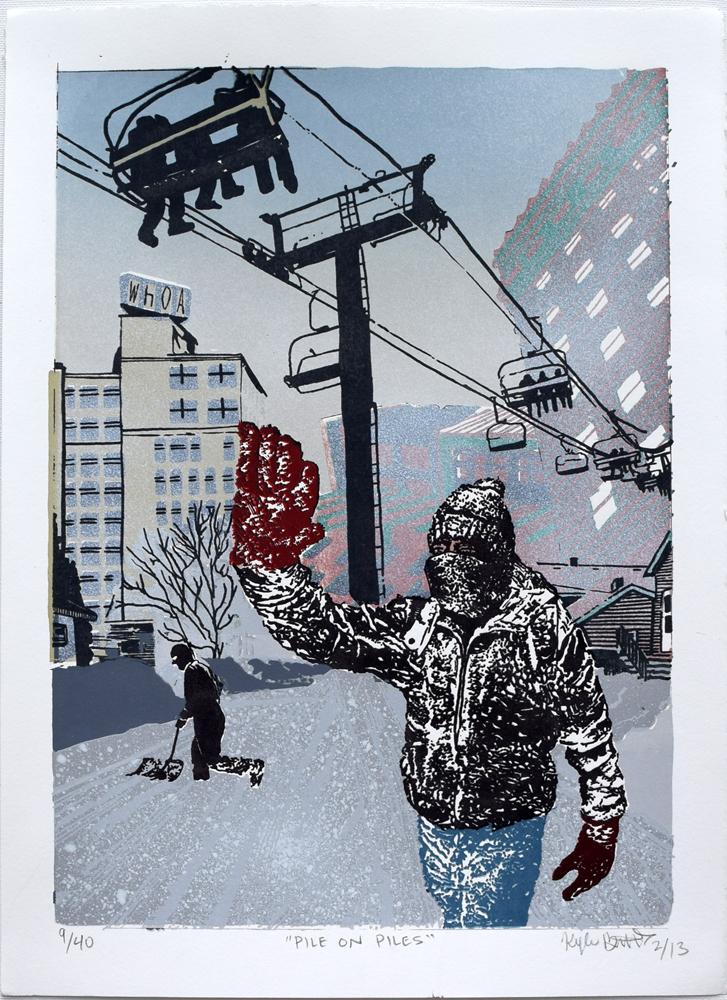 "Pile On Piles Silkscreen Print, 2013 11"" x 15"""