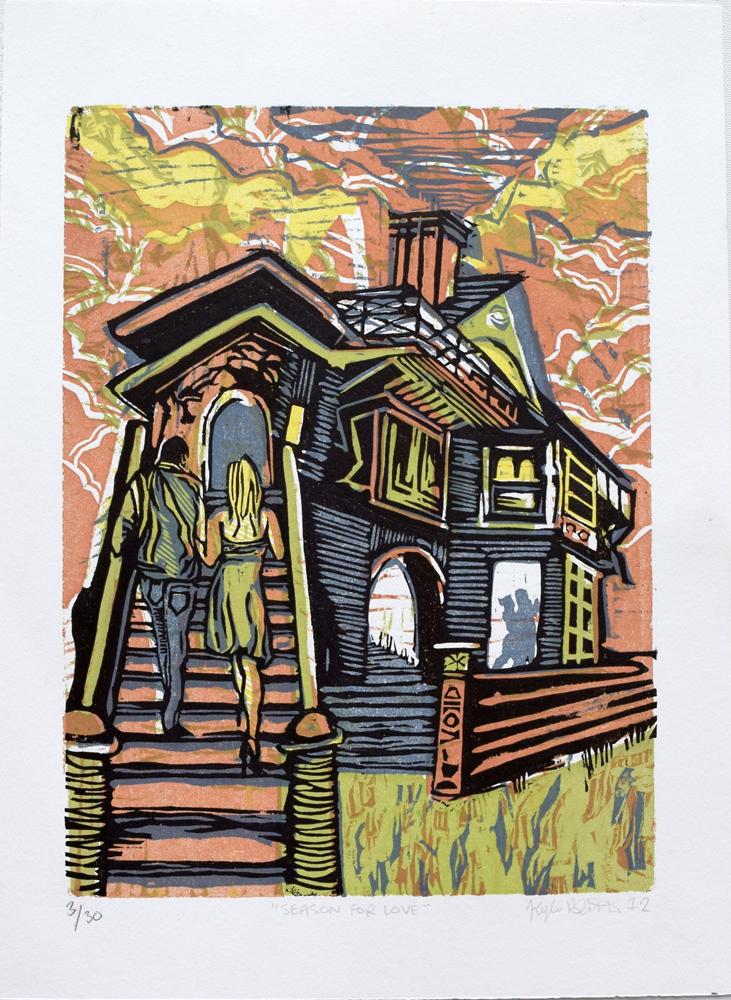 "Season For Love Woodcut Print, 2012 11"" x 15"""