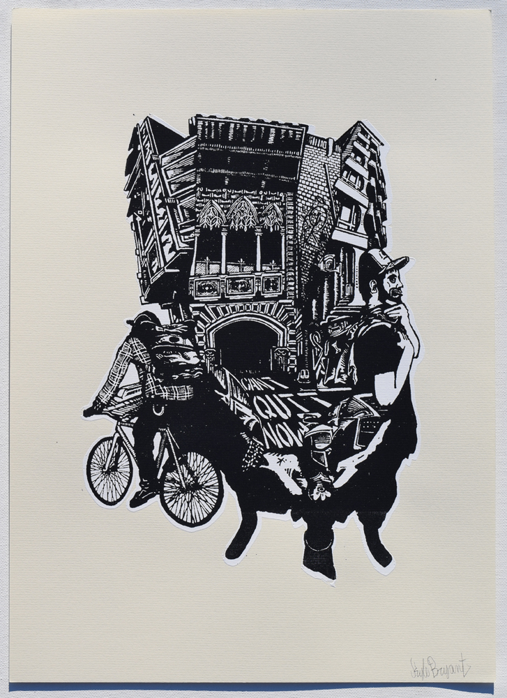 "Bicycle Courier Nostalgia Silkscreen Print, 2014 11"" x 15"""
