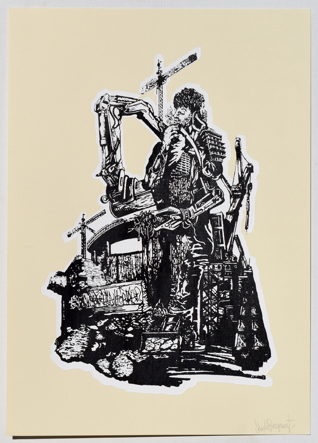 """Broken Construction Necessary Silkscreen Print, 2014 11"""" x 15"""""""