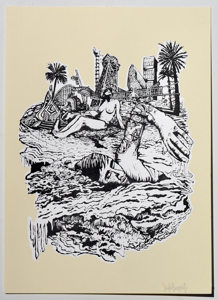 "Beach Casual Nudity Silkscreen Print, 2014 11"" x 15"""