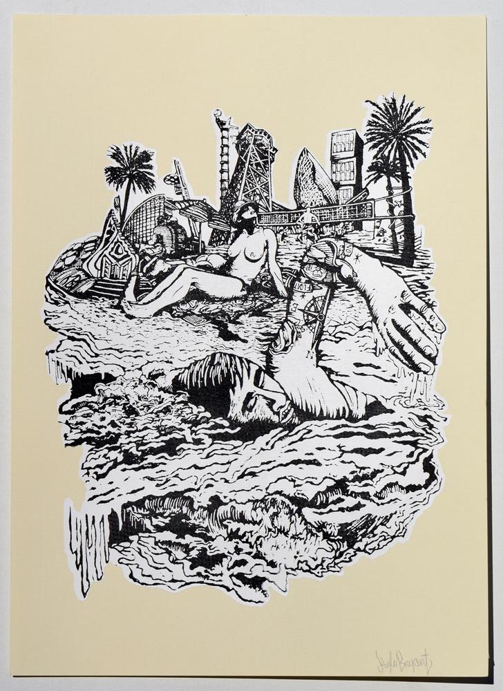 "Beach Casual Nudity Silkscreen Print, 2014 11"" x 15"""