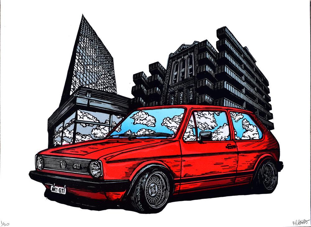 VW volkswagen art fine art print woodcut stencil spray paint street  urban GTI