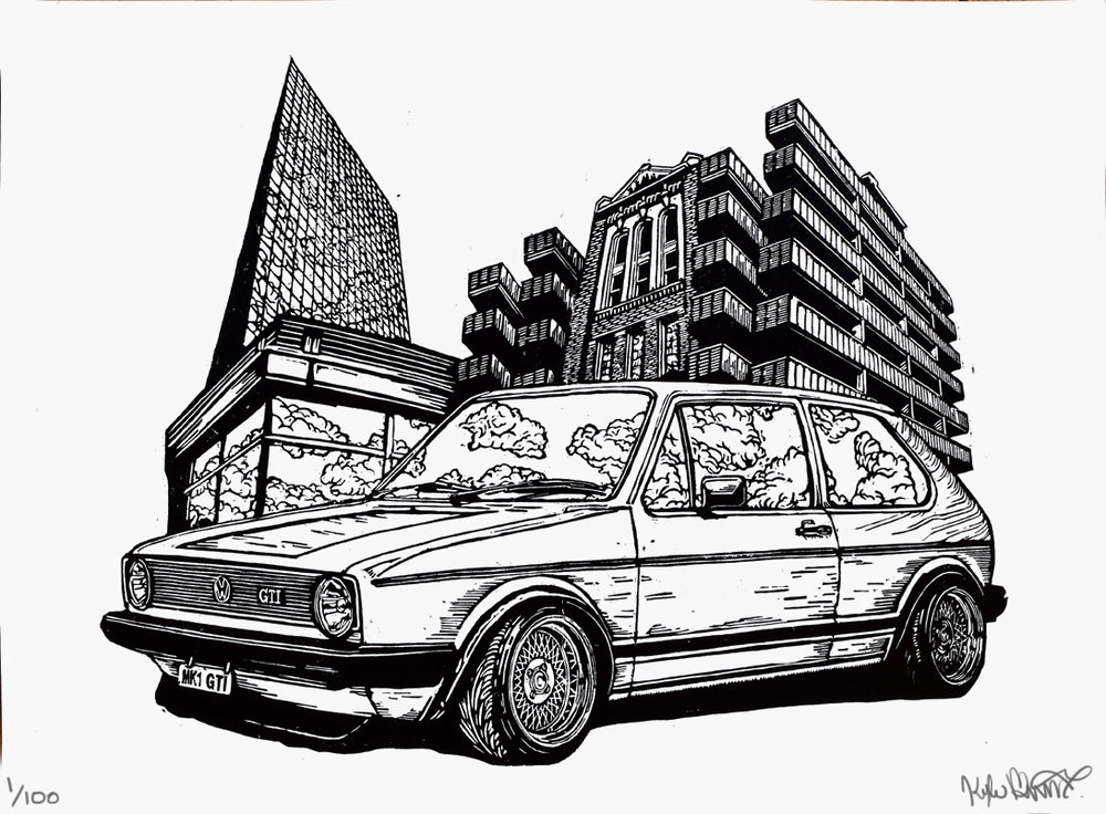 vw gti fine art printmaking print woodcut limited edition handmade