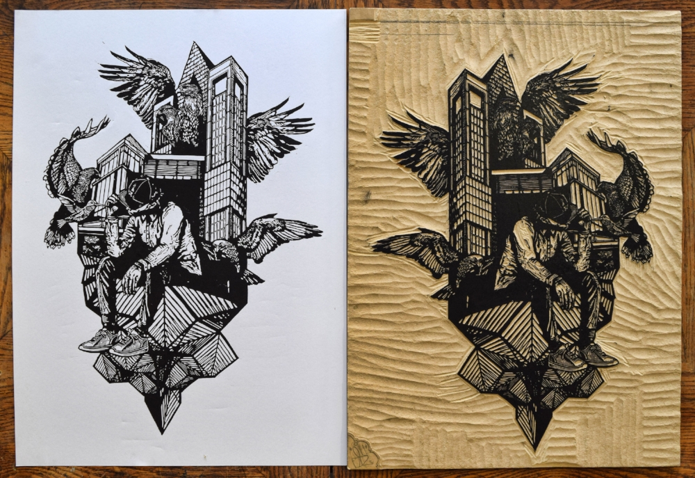 Kyle Bryant Float On with block printmaking woodcut urban art