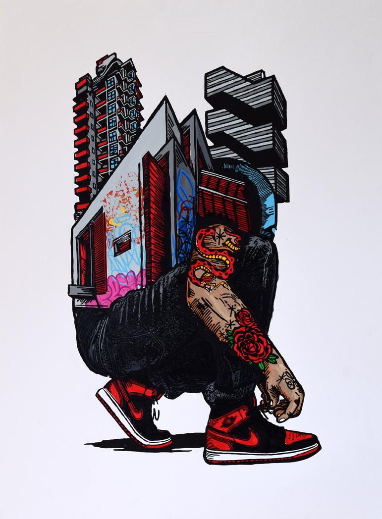Kyle bryant jordan 1 sneaker art bred printmaking woodblock