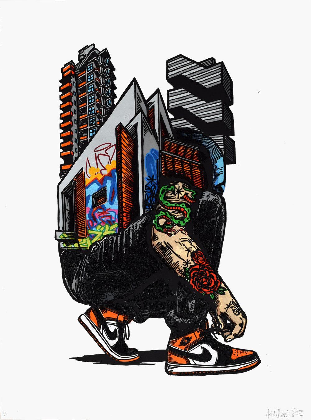 kyle bryant jordan 1 sneaker art graffiti printmaking