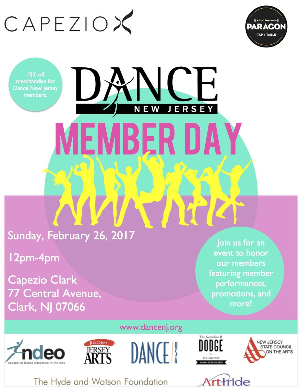 For questions, contact Administrative Assistant Stephanie Rankin at contact.dancenj@gmail.com. Place in the subject line: DanceNJ Member Day.