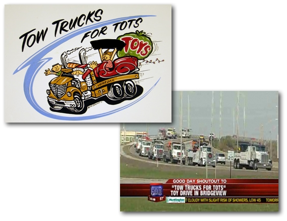 Jim's Towing participating in the Parade of Tow Trucks for Tots (Toys).