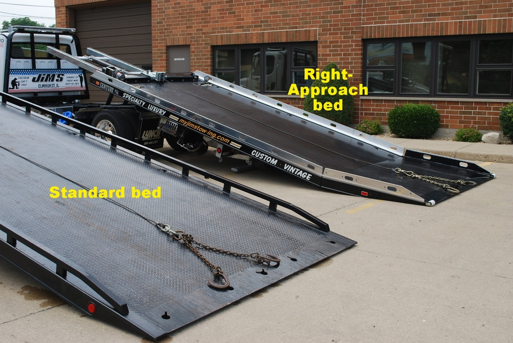 LEFT: Standard flatbed. RIGHT: New Right-Approach Bed. We have 4 Right-Approach Beds to handle the new low-profile autos and SUVs.