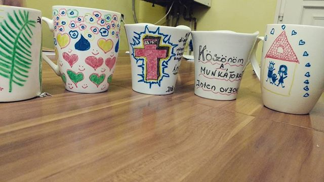 At the request of one of the sweet ladies in the safe house, we decorated mugs for Valentine's day #intensecross